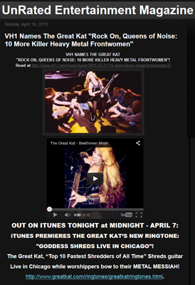 UNRATED ENTERTAINMENT MAGAZINE Features THE GREAT KAT'S VH1 AWARD and NEW RINGTONE!