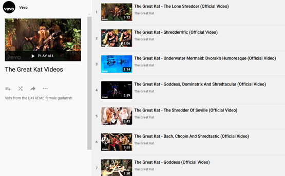 """VEVO PRESENTS """"THE GREAT KAT VIDEOS"""" PLAYLIST! """"Vids from the EXTREME female guitarist!"""""""