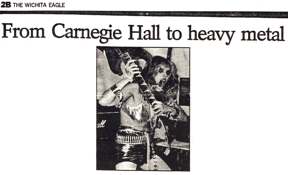 "WICHITA EAGLE FEATURES THE GREAT KAT in ""FROM CARNEGIE HALL TO HEAVY METAL""! ""The Great Kat has extraordinary talent and gives new meaning to classical music."" - C.J. Hytche, The Wichita Eagle"