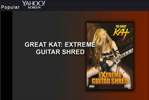 "YAHOO! SCREEN Features The Great Kat's ""EXTREME GUITAR SHRED"" DVD Trailer starring The Great Kat's Guitar AND Violin Virtuosity on Sarasate's ""ZAPATEADO""!"