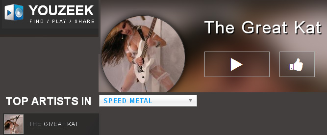 "YOUZEEK FEATURES THE GREAT KAT IN ""TOP ARTISTS IN SPEED METAL""!"