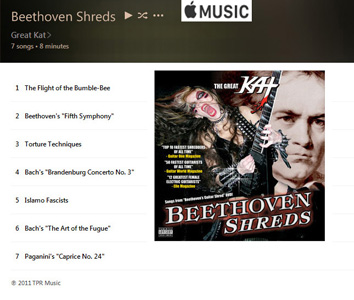 "APPLE MUSIC is NOW STREAMING The Great Kat's ""BEETHOVEN SHREDS"" CD!"
