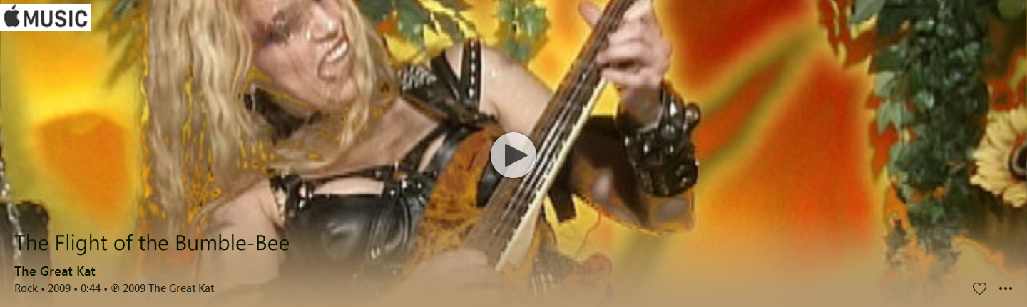 "APPLE MUSIC is NOW STREAMING The Great Kat's ""THE FLIGHT OF THE BUMBLE-BEE"" MUSIC VIDEO!"