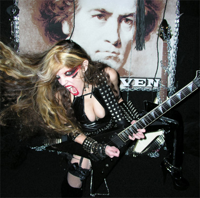 "The Great Kat, The World's Fastest Guitarist, unleashes the ULTIMATE Shred Guitar CD, ""BEETHOVEN SHREDS"", featuring: -""THE FLIGHT OF THE BUMBLE-BEE""  Shredding at 300 BPM! -BEETHOVEN'S ""5TH SYMPHONY""  with the world's most famous 4 notes! -BACH'S ""BRANDENBURG CONCERTO #3""  with 6 shredding guitars! -PAGANINI'S ""CAPRICE #24""  starring Great Kat's demonic guitar virtuosity! & MORE!!"