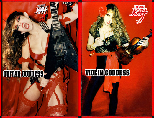 """WINNER of GREAT KAT CONTEST! RED, from MASSACHUSETTS is the WINNER of THE GREAT KAT """"GIVING THANKS TO GODDESS"""" THANKSGIVING CONTEST! RED WON a FREE KAT HYPERSPEED T-SHIRT, KAT THONG & SKULL RING! THE WINNING REASON """"WHY YOU ARE GIVING THANKS TO GODDESS"""": """"She's blistering hot, she plays guitar like a m-fer, she plays violin like a m-fer"""" - Red, from Massachusetts"""