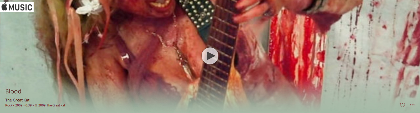 "APPLE MUSIC is NOW STREAMING The Great Kat's ""BLOOD"" MUSIC VIDEO!"