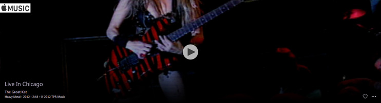 "APPLE MUSIC is NOW STREAMING The Great Kat's ""LIVE IN CHICAGO"" MUSIC VIDEO!"