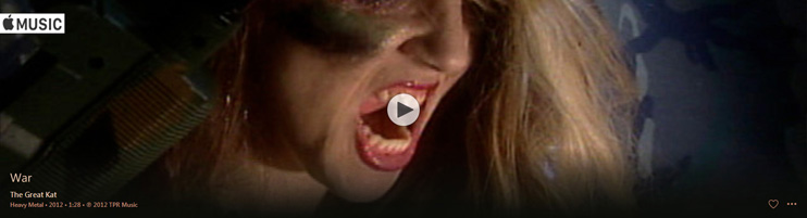 "APPLE MUSIC is NOW STREAMING The Great Kat's ""WAR"" MUSIC VIDEO!"