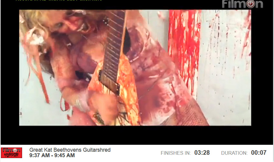 """FILMON HORROR NETWORK IS BROADCASTING THE GREAT KAT'S """"BEETHOVEN'S GUITAR SHRED"""" DVD!"""