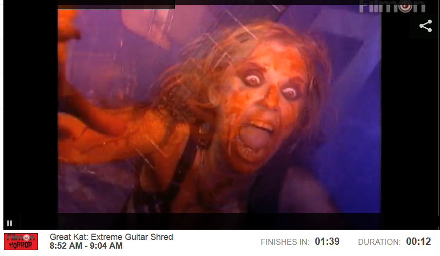 """FILMON HORROR NETWORK is PLAYING THE GREAT KAT'S """"EXTREME GUITAR SHRED"""" DVD TUES 8/26 & WED 8/27! """"Enjoy the best in horror and bizarre films, specials and documentaries from the dark side of ART."""""""