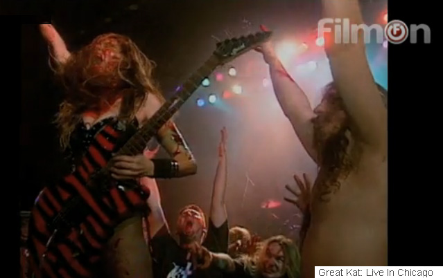"""FILMON HORROR NETWORK is PLAYING THE GREAT KAT'S """"EXTREME GUITAR SHRED"""" DVD!"""
