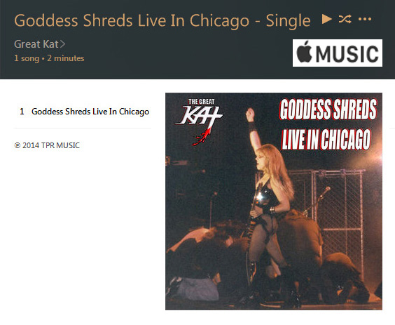 "APPLE MUSIC is NOW STREAMING The Great Kat's ""GODDESS SHREDS LIVE IN CHICAGO"" SINGLE!"