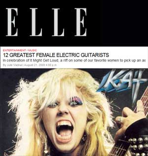 """METAL LIFE FEATURES THE GREAT KAT IN """"Elle Magazine names THE GREAT KAT to '12 GREATEST FEMALE ELECTRIC GUITARISTS'"""" - Terry Bunch, Metal Life"""