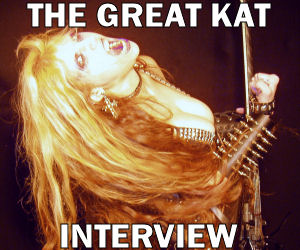 """NEW! DeansPlanet.com Celebrity Interview with The Great Kat! """"One of the premier shredders on the planet (male or female). The Great Kat's new DVD, Extreme Guitar Shred was an intense, blistering set of short music videos. The songs are short, note for note arrangements of familiar classical arrangements, cranked up to 11 and played with dizzying speed.  Just listening to it is enough to almost shred the skin right off your fingertips in a spray of sweat and blood."""" Jeremy The Loner, DeansPlanet.com Celebrity Interviews"""