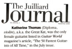 "The Great Kat in ""THE JUILLIARD JOURNAL"" ALUMNI NEWS! ""Katherine Thomas, a.k.a. The Great Kat, was the only female guitarist listed in Guitar World Magazine's article 'The 50 Fastest Guitarists of All Time."" - The Juilliard Journal."