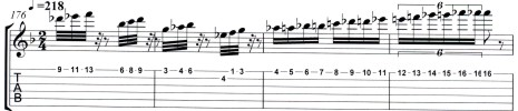 "THE GREAT KAT GUITAR TABLATURE for LISZT'S ""HUNGARIAN RHAPSODY #2""-Example"