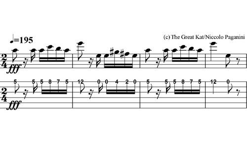 """THE GREAT KAT GUITAR TABLATURE for PAGANINI'S """"CAPRICE #24"""""""