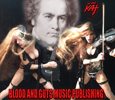 """Blood And Guts Music Publishing Company (on ASCAP) is now making The Great Kat's ShredClassical Music Catalog available for licensing to Music Supervisors for TV Shows, Films, Commercials and more. The Catalog features high-speed Shred Guitar/Classical Violin versions of famous masterpieces from Beethoven, Bach, Vivaldi, Paganini, Rossini, Sarasate, Liszt, Wagner and more. Recently, The Great Kat's Vivaldi's """"The Four Seasons"""" publishing and recording was licensed for use in the blockbuster """"Call Of Duty: Ghosts"""" Tesco TV Commercial."""