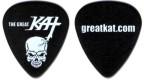 The Great Kat SKULL GUITAR PICK! Black Celluloid Guitar Pick (Heavy Gauge) Front: The Great Kat Logo & Vicious Heavy Metal Skull. Back: Kat Web Site