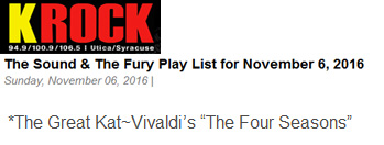 "KROCK'S JRRBLL Played The Great Kat's VIVALDI'S ""THE FOUR SEASONS"" on ""The Sound & The Fury"" RADIO SHOW, TODAY November 6, 2016!"