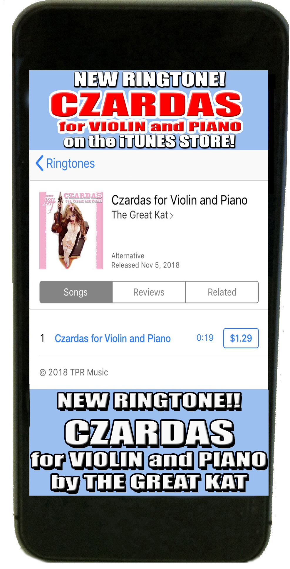 RINGTONE! THE GREAT KAT'S BRINDISI WALTZ FOR VIOLIN AND PIANO (The