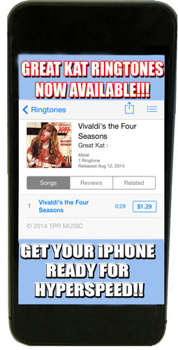 iTUNES PREMIERES THE GREAT KAT'S SHREDCLASSICAL RINGTONES – BRING VIVALDI TO YOUR IPHONE!!