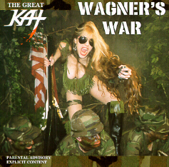"INANNA NAKED WEBZINE'S REVIEW of GREAT KAT'S ""WAGNER'S WAR"" CD!  ""Conjunction of virtuosity and apocalypsis, that sonic war in this case (being Kat's music a kind of chemical weapon that destroys our nervous system), that form to build and pull down all that megalomaniac and wild combination of classical music, speed and own creations in that orchestrated uproar of hypersonic guitars and violins."" - Hector Noble Fernandez, Inanna Naked Webzine (Spain)"